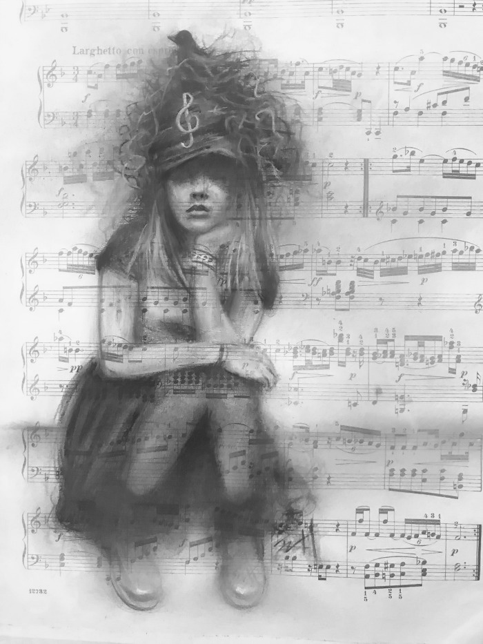 Edge of 17 - Charcoal on Vintage Sheet Music in B n W